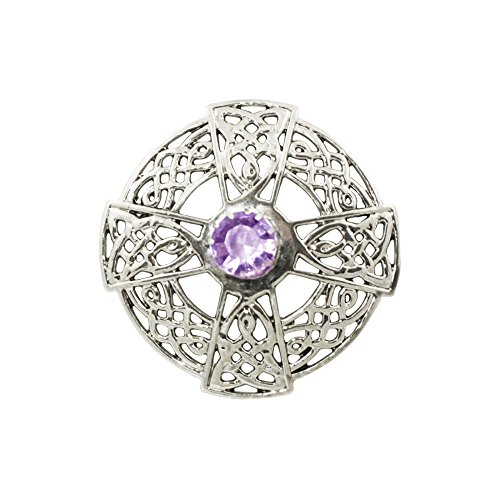 Highland Spirit Purple Swarovski Crystal and Silver Tone Scottish Celtic Knotwork Pin Brooch With Gift Box