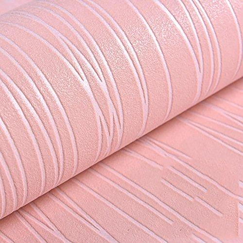 3D Streifen Tapete Thicking Vlies Einfach Pure Farbe Modern Einfach Hotel Schlafzimmer Fernseher Hintergrund Wand Dekoration Wallpaper , pink , 10*0.53 m