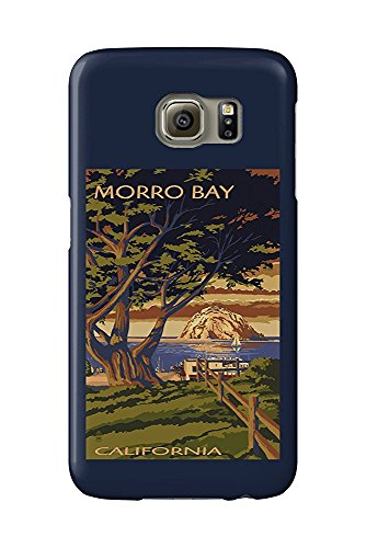 Morro Bay, California - Town View with Morro Rock (Galaxy S6 Cell Phone Case, Slim Barely There) -