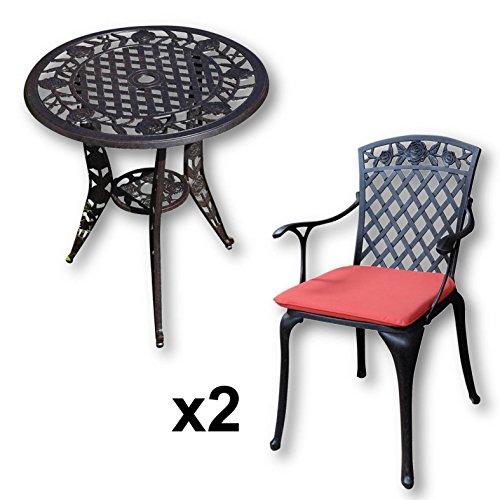 Lazy Susan - Table bistro ROSE et 2 chaises de jardin - Salon de jardin en aluminium moulé, coloris Bronze Ancien (chaises ROSE, coussins terracotta)