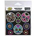 MOOXI-BIKE Reflektierende Sticker Día de Muertos, Sichtbarkeit erhöhen an Fahrrad, Roller, Helm und Schultasche durch Reflektierende Designbeklebung