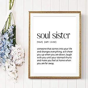 EBONP Wand dekorative Leinwand Malerei Soul Sister Definition Print Bester Freund Freundschaft Geschenk minimalistische…