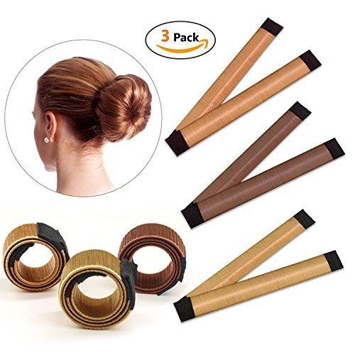 Snner Bun Haarschmuck, Magic Hair Styling Donut Bun Maker, Hair Bun Shapers für Frauen Mädchen DIY Frisur Tools, 3 Pack (braun/rotbraun/gelb braun)