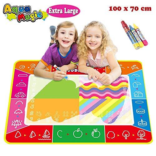 Joy-Jam Juguetes para Niñas DE 3-4 Años Aqua-Doodle Pinturas para Niños Pizarra Magica Estera 100*73cm Bebe Dibujo Escritura Regalos para niños 2 Años con 3 Giotto