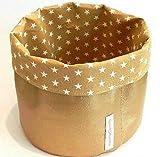 Körbchen aus Kunstleder - GOLD - und Stoff - STERNE AUF BEIGE - zur Aufbewahrung von Strickzeug, Spielzeug oder Badutensilien - Geschenk Weihnachten Geburtstag Muttertag Hochzeit