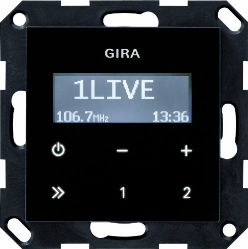 Gira 228405 Unterputz Radio RDS ohne Lautsprecher System 55, schwarzglasoptik