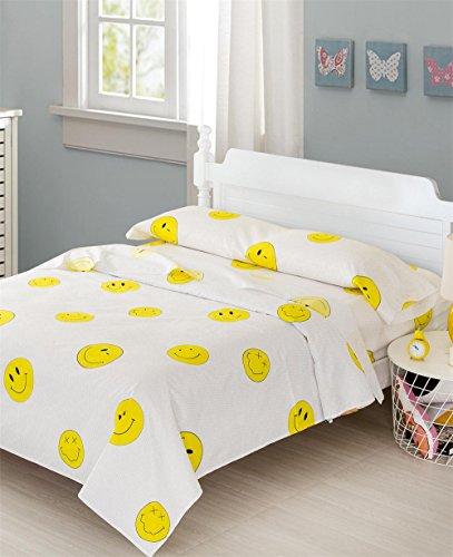 Frenessa Juego Sábanas para Niños Infantiles 3 Piezas Cama de 90cm, Incluye Fundas de Almohada + Sábana Bajera Ajustable + Sábana encimera, Diseño de Emoji