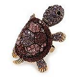 Grande color morado anillo de tortuga de cristal en metal de oro de combustión-ajustable