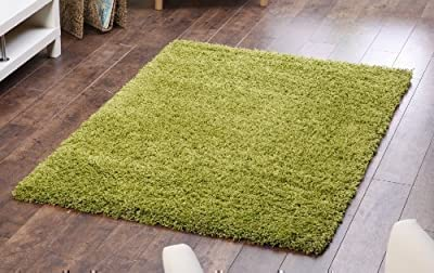 Lime Green Shaggy, Non Shedding rug. 120x160cm. UK MAINLAND POSTAGE ONLY - low-cost UK light shop.