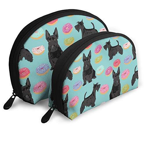 Scottie Donuts Cosmetic Pouch Clutch Portable Bags Handbag Organizer with Zipper 2Pcs -