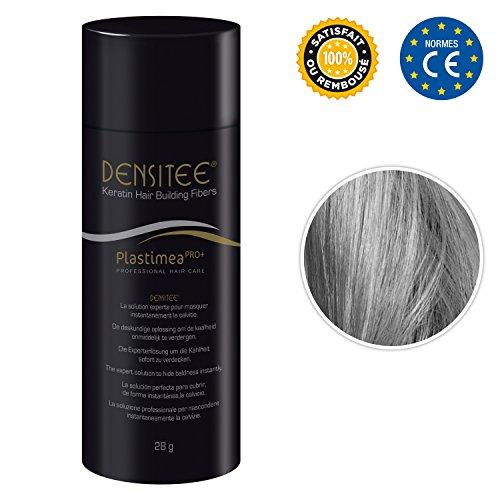 DENSITEE Fibras capilares • Color Gris • Caida de cabello • Polvo de Queratina Natural • Maquillaje Capilar • hombres y mujeres • 28 Gramos • Aumenta el volumen • Retoca las raíces y canas • Disimula la pérdida de cabello al instante