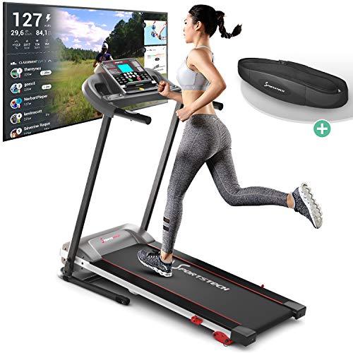 sportstech f10 cinta de correr - marca de calidad alemana - eventos en video y app multijugador, inclinación 18°; sistema de lubricación, pulsómetro, 1cv, 10km/h. geh + 13 programas, plegable