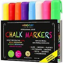 ChalkTastic - Lote de 8 rotuladores marcadores de tiza líquida, ideal para niños, para pizarras no porosas, cristales y ventanas, tinta borrable, con punta reversible (fina o biselada), colores llamativos y blanco