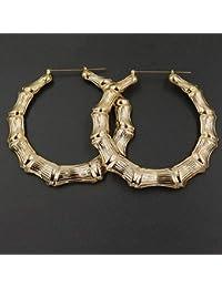 Danigrefinb moda donna Bamboo Big grande cerchio orecchini pendenti a  cerchio per donne punk Jewelry e91c58e5b9b8