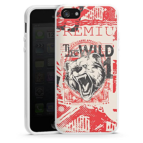 Apple iPhone 4 Housse Étui Silicone Coque Protection Ours Ours Animal Housse en silicone blanc