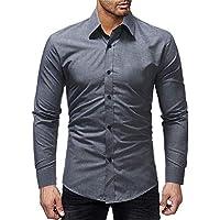 zxc Top Los Hombres De Camisa, Camisa De Manga Larga,Gray,XL