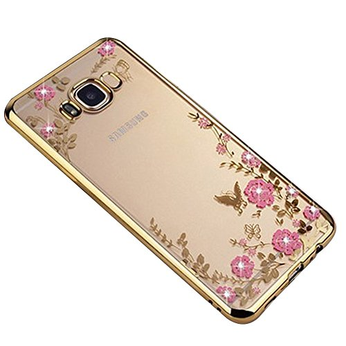 SevenPanda Galaxy A320 2017 Hülle, Floral Schmetterling Secret Garden Design Pattern mit Bling Diamond Clear Weiche Flexible TPU Gel Slim Zurück Hülle für Samsung Galaxy A3 2017 SM-A320 - Gold