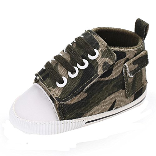KanLin Cute Boy Girls Baby Soft Sole Crib Shoes Toddler Boots Shoelace (0-6 monat, Army Green)