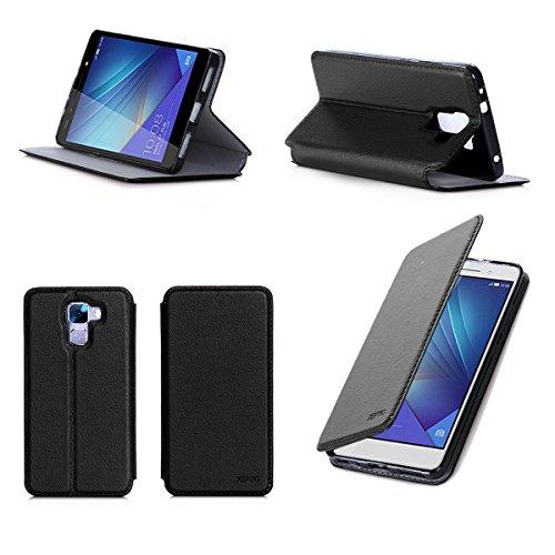 Etui luxe Huawei Honor 7 / Honor 7 Premium (3G/Wifi/4G/LTE) Ultra Slim noir Cuir Style avec stand - Housse coque de protection pour Huawei Honor 7 Dual Sim noire - Prix découverte accessoires pochette XEPTIO : Exceptional case !