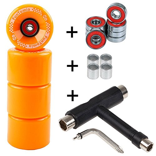 FunTomia 4 Pezzi Longboard/Skateboard/Miniboard Ruote (Big Wheels) 65x45 mm 80A incl. Mach1 Cuscinetti a Sfera, Spacer + T-Tool (Arancione - Senza LED + T-Tool)