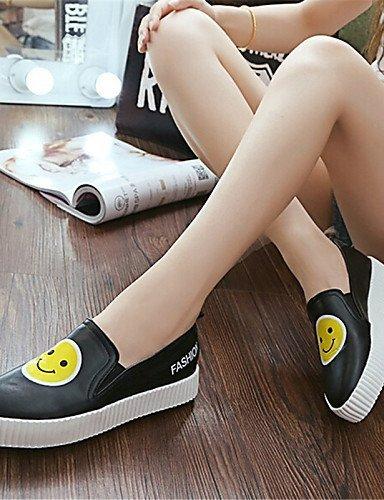 Shangyi Gyht Zapatos De Mujer-mocasines-ocio / Casual-creepers-plataforma-cuero Falso-negro / Blanco Blanco
