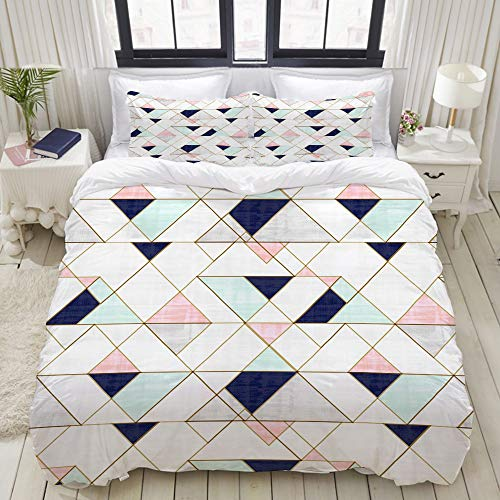 SnowXXL Bettwäsche-Set, Mikrofaser,Mod Triangles - Navy Blush Mint Teppich von crystalwalen,1 Bettbezug 135 x 200cm + 2 Kopfkissenbezug 80x80cm - Navy King Quilt California