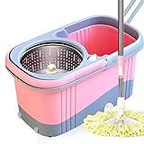 DWW Fregona giratoria de Acero Inoxidable sin Manos, con 2 recambios de Cabezal de fregona de Microfibra, dispensador de jabón, 4 Ruedas y Varilla Extensible (Color : A-Pink+6)