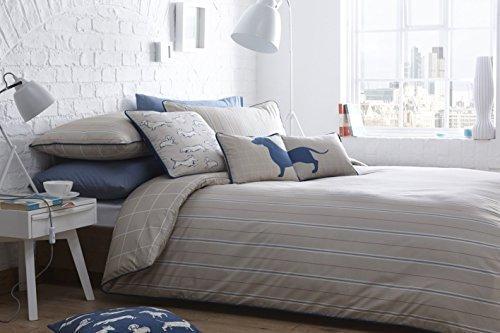 Nadelstreifen kariert blau orange beige verrohrt 100% Baumwolle Super King Bettbezug