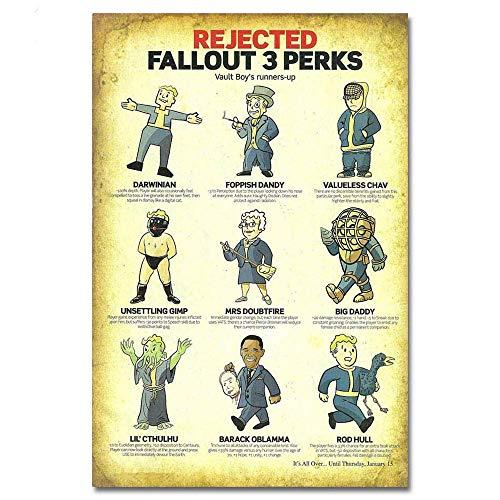 Snowae Rejected Fallout 3 Perks Metall Poster Wand rostfrei Aluminium wetterfest Dekor Home Wall Art Decor Retro Vintage Blechschild 30,5 x 6515,2 cm