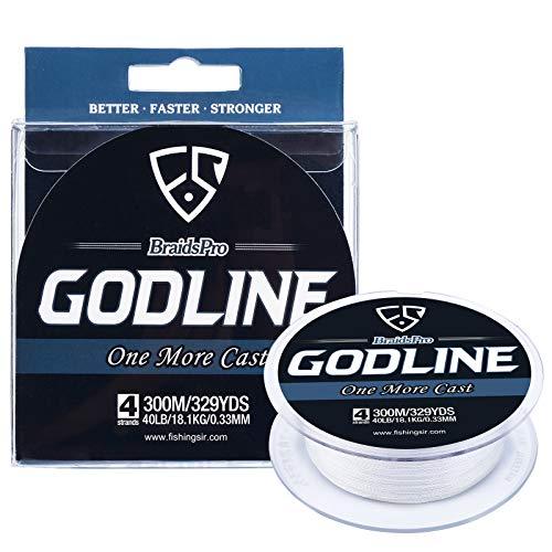 Fishingsir godline lenza intrecciata braid superline in polietilene, molto potente e resistente all'abrasione, 100-1000 m, 3,6-54,4kg. , uomo, white, 150yds/12lb