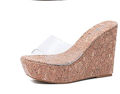 GTVERNH-8cm scarpe di plastica spessa basso pendio tacchi estate sono semplici e trasparenti le scarpe col tacco alto cunei sandali.,trentotto Thirty-seven