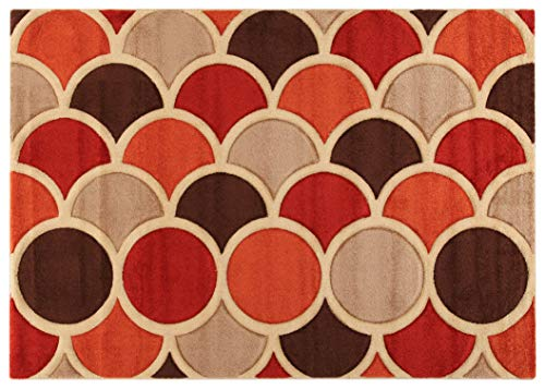 ABC Tappeti Tapis Sixties Rouge/Beige/Marron 133 x 190 cm