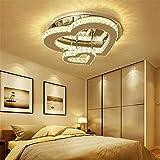 LIGHT&BIG Lámpara de Techo LED Luces de Techo de Cristal Regulable Lámpara de Techo de Cristal en Forma de corazón Cálido Romántico Salón Dormitorio Decorativo,25cmsingleheartdimming