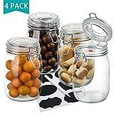 4er Set Gläser mit Bügelverschluss, OAMCEG Einmachglas/Vorratsgläser/Aufbewahrungsgläser 1 Liter mit Gummiring und Deckel, 8 Wiederverwendbare Aufkleber & 1 Anti-Staub-Kreide
