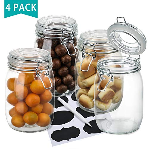 OAMCEG Wide Mouth Mason Jars, 4-Piece 1 L Airtight Glass Preserving Jars with Leak Proof Rubber Gasket and Clip Top Lids, Perfect for Storing Coffee, Sugar, Flour or Sweets - 6 Labels & Chalk Marker