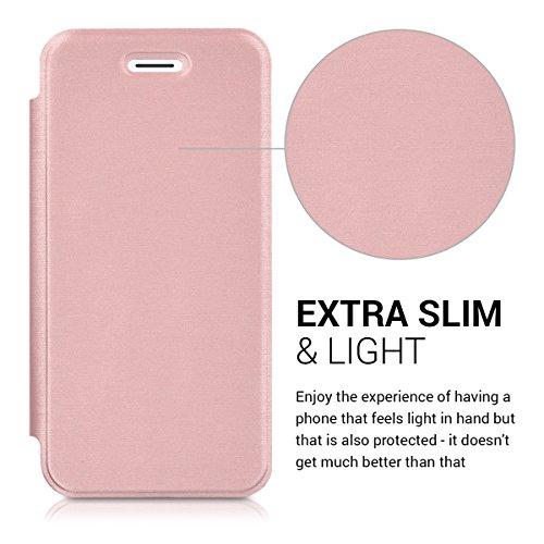 kwmobile Housse flip case pour Apple iPhone 7 / 8 - Étui de protection rabattable style flip cover en argenté transparent .doré-rose transparent