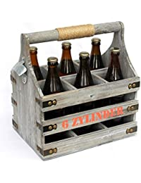 KF-Holz 6er Flaschentr/äger mit Gravur,Vatertagsgeschenk 6er Biertr/äger mit Gravur M/ännerhandtasche
