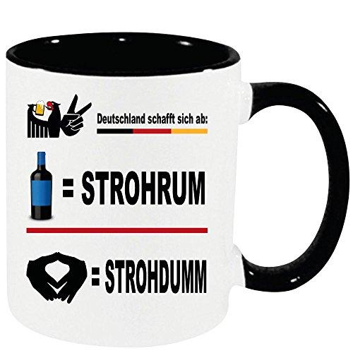 Lustige Sprüche Tasse XXL Schwarz 450ml Strohrum Tasse zur Politik der Regierung SPD CDU AFD FDP