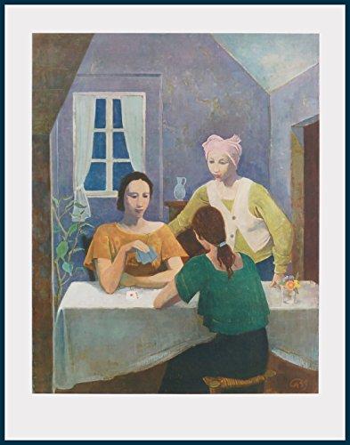 Bild mit Rahmen Karl Hofer - Kartenspielende Mädchen - Holz blau, 71.3 x 89.0cm - Premiumqualität - MADE IN GERMANY - ART-GALERIE-SHOPde