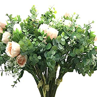 Aisamco 2 Piezas Artificial Bouquet Flores variadas Rosa Falsa Aliento del bebé Eucalipto Ramas 13.8″Alto para la Mesa Decoración de Oficina en casa Boda Arreglo Floral Dama de Honor Ramo de Novia