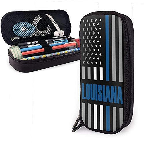 Louisiana USA Thin Blue Line Flag Estuche de lápices Bolígrafos escolares Estuches Estuche de lápices...