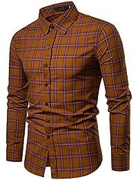 Cebbay Camisa Manga Larga Hombre Sudadera a Cuadros Camisa de Vestir Trajes de Hombre para Boda Diseño Elegante, Casual y en Forma.