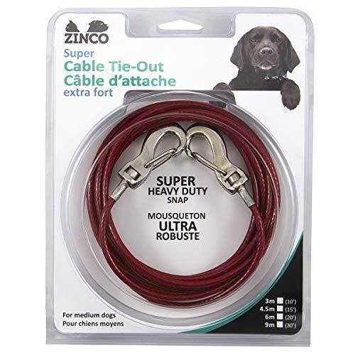 Ben-Mor Zinco Starkes Kabelbinder, 360 Grad drehbar, Doppel-Wirbel für Hunde, 15', Red / 100 pounds -