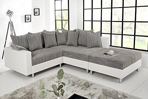 Design Ecksofa mit Hocker LOFT weiss Strukturstoff grau Federkern Sofa OT beidseitig aufbaubar - 4
