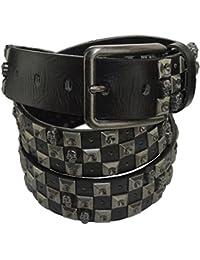 Totenkopf Nieten Gürtel schwarz mit Dornschließe im edlen Design 3,5 cm Breit