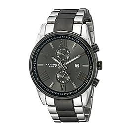 Akribos Xxiv uomo analogico display svizzero orologio al quarzo con cinturino in acciaio INOX