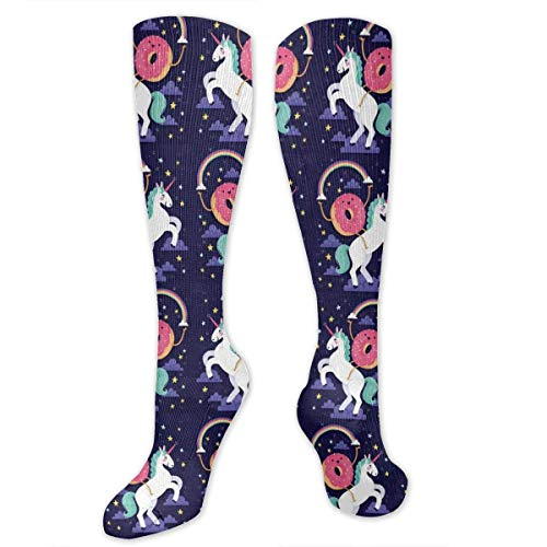 Compression Socks for Women Men Nurses Runners - Best Medical Stocking for Travel, Maternity, Running, Athletic, Varicose Veins - Cute Donut Rides On Rainbow Unicorn -