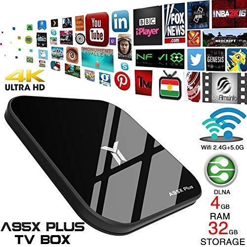 Mirabellini Android 8.1 TV-Box, 4 GB + 32 GB A95X Plus Smart 4K-TV-Box, Quad Core-Box unterstützt 2,4 GHz WiFi USB 3.0 Ultra HD-TV-Stream-Media-Player mit Fernbedienung