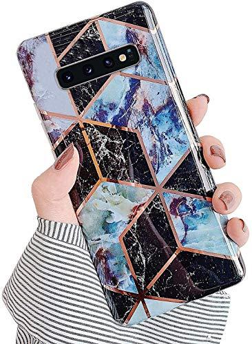 Herbests Kompatibel mit Samsung Galaxy S10 Plus Hülle Silikon Weich TPU Handyhülle Glitzer Glänzend Marmor Muster Ultra Dünn Schutzhülle Marble Case Kratzfeste Stoßfest Tasche,Schwarz Lila