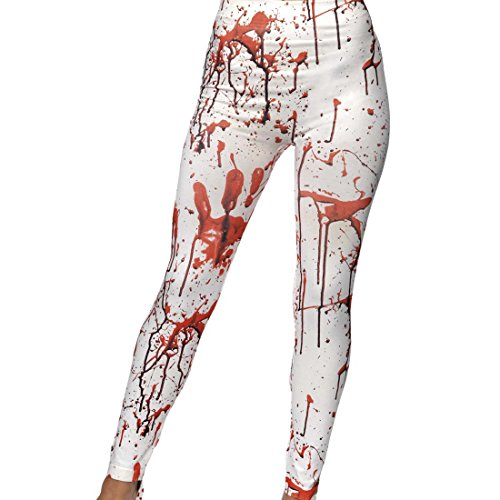 NET TOYS Blutige Zombie Leggings Horrorhose Halloween blutverschmierte Strumpfhose blutige Stretchhose Halloweenparty Untoter Tights Halloweenkostüm Damen